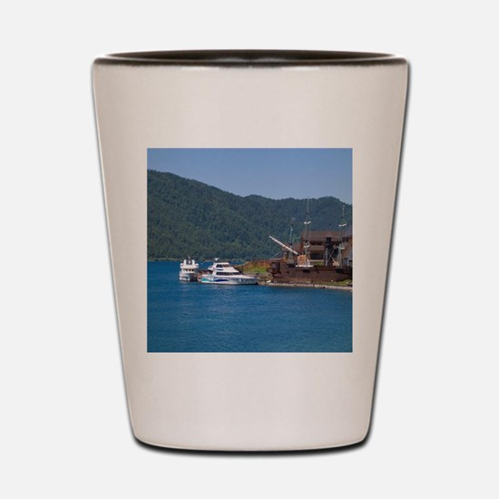 Baikal Legend Hotel with boats at Listv Shot Glass