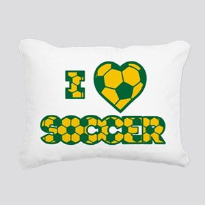 gold green love soccer,  Rectangular Canvas Pillow