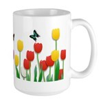 Tulip Flowers and Butterflies Large Mug