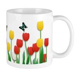Tulip Flowers and Butterflies Mug