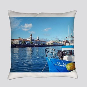 Small town by the sea Everyday Pillow
