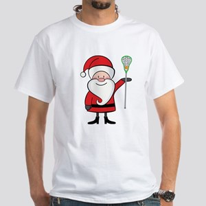 Lacrosse Santa Personalized White T-Shirt