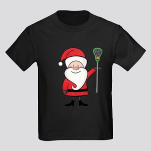 Lacrosse Santa Personalized Kids Dark T-Shirt