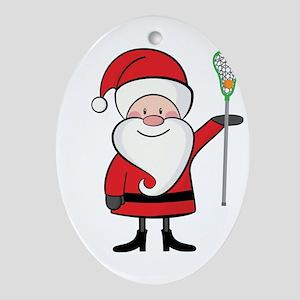 Lacrosse Santa Personalized Ornament (Oval)