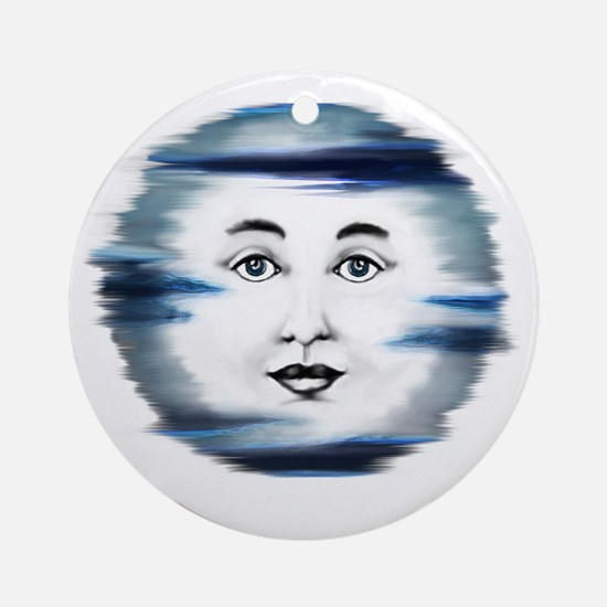 Blue Moon Face4 Round Ornament