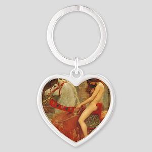 Lady Godiva Heart Keychain