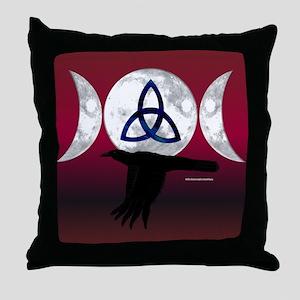 Tri-Moon Crow Throw Pillow