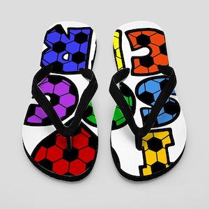 multi Love Soccer Block Flip Flops