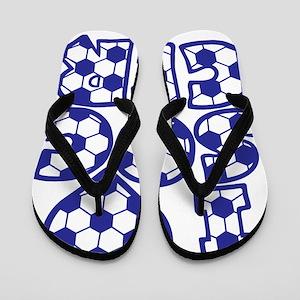blue Love Soccer Block Flip Flops