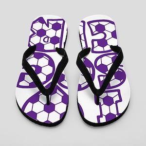 purple Love Soccer Block Flip Flops