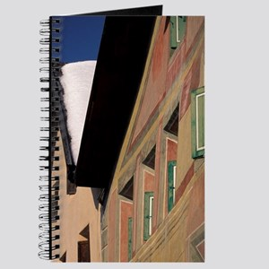 Guarda. Winter scene and painted buildingW Journal