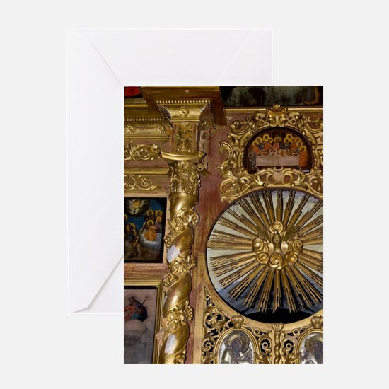 Interior. Gold altar detail Uglich o Greeting Card