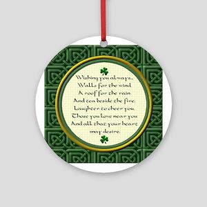Irish Blessing Shamrock Ornament (Round)