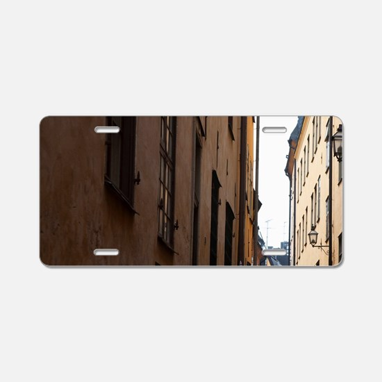 Sweden - A narrow alley goi Aluminum License Plate