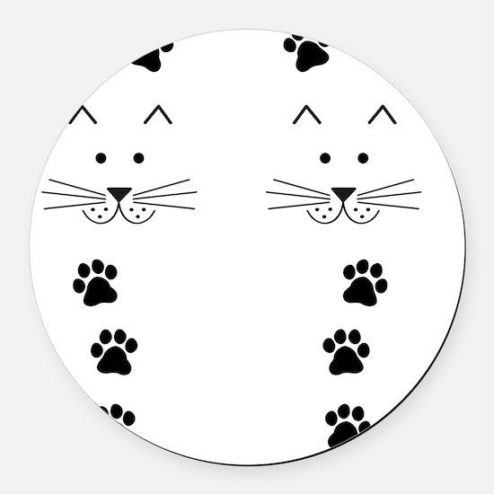 Cartoon Cat Face Round Car Magnet