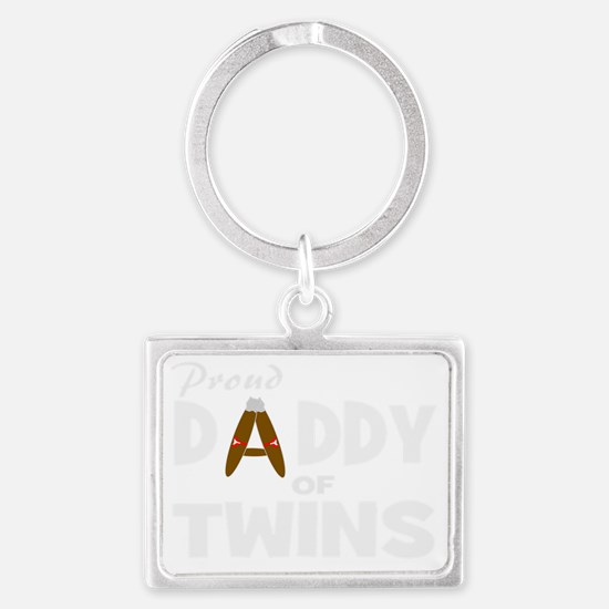 Unique daddy of twins Landscape Keychain