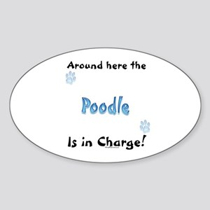 Poodle Charge Oval Sticker