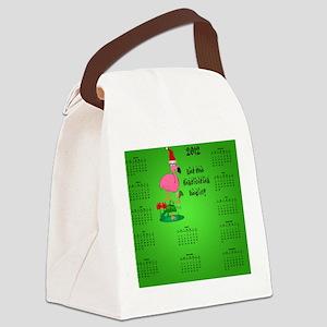 Dark_mousepad_christmas_flamingo_ Canvas Lunch Bag