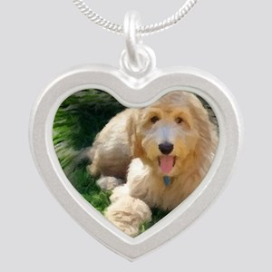 Goldendoodle Silver Heart Necklace