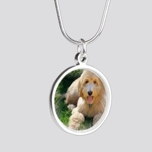 Goldendoodle Silver Round Necklace