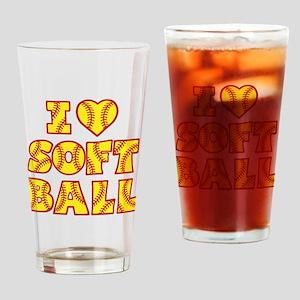 yellow red Love Softball Block Drinking Glass