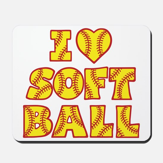 yellow red Love Softball Block Mousepad