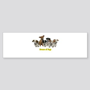 PUPPY 1160 Beware of Dogs Bumper Sticker