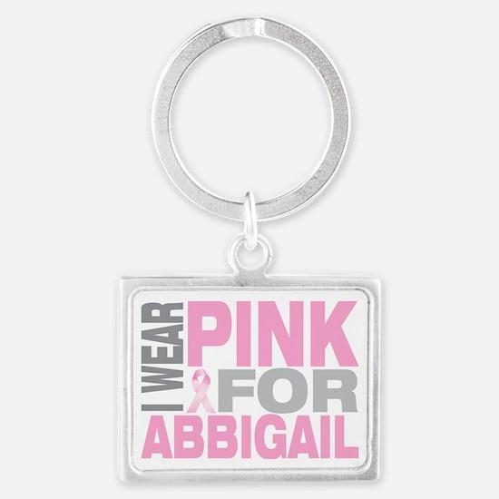 I-wear-pink-for-ABBIGAIL Landscape Keychain