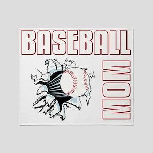 baseballmom001-dark Throw Blanket