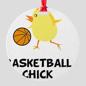 Basketball Chick Black Round Ornament