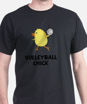 Volleyball Chick Black T-Shirt