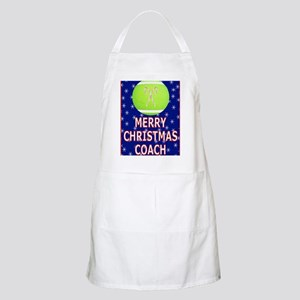 Merry Christmas Greeting Card for Tennis Coa Apron