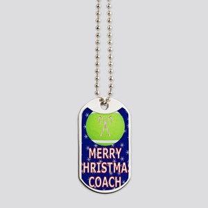 Merry Christmas Greeting Card for Tennis  Dog Tags