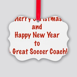 Merry Christmas Soccer Coach Card Picture Ornament