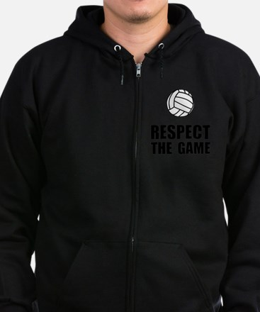 Volleyball Respect The Game Blac Zip Hoodie (dark)