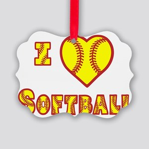 wh yellow, Love Softball 2 Picture Ornament