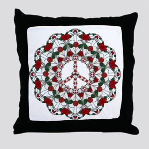 holiday_glass_peace_round10x10 Throw Pillow