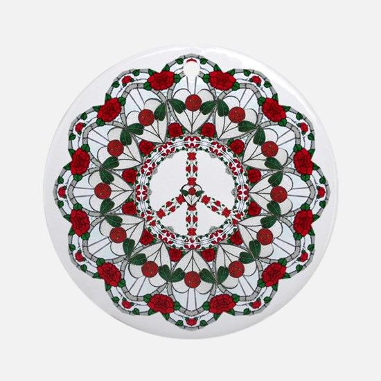 holiday_glass_peace_round10x10 Round Ornament