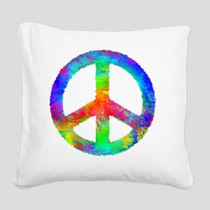 Distressed Rainbow Peace Sign Square Canvas Pillow
