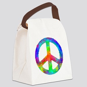 Distressed Rainbow Peace Sign Canvas Lunch Bag
