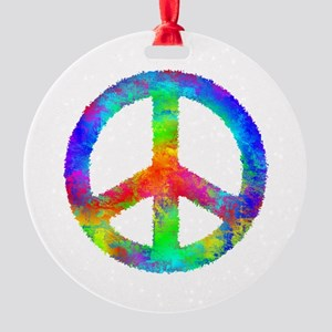 Distressed Rainbow Peace Sign Round Ornament