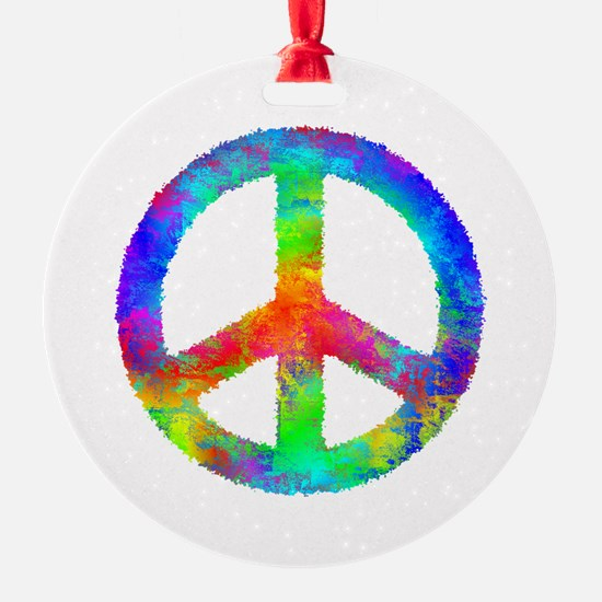 Distressed Rainbow Peace Sign Ornament