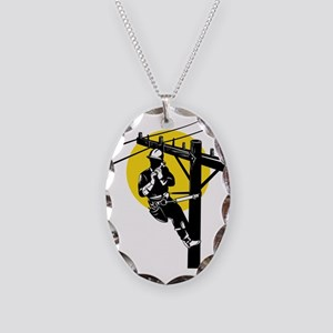 power lineman electrician repa Necklace Oval Charm