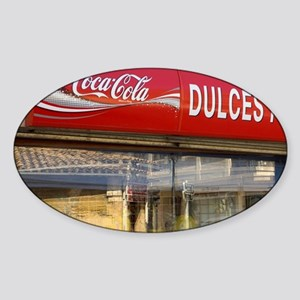 Red sign for a candy store framed w Sticker (Oval)