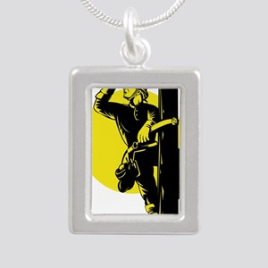 power lineman electricia Silver Portrait Necklace