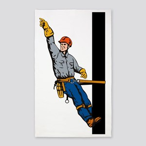 power lineman electrician repairman 3'x5' Area Rug