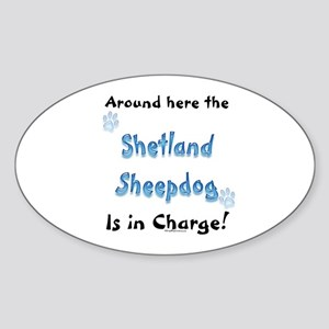 Sheltie Charge Oval Sticker