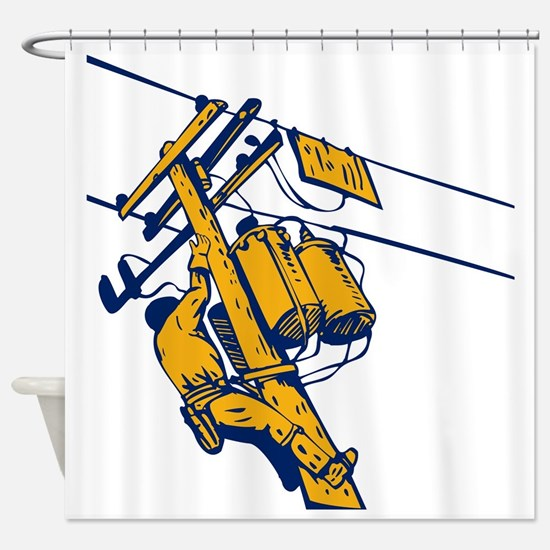 power lineman electrician repairman Shower Curtain