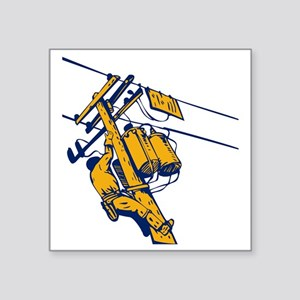 "power lineman electrician r Square Sticker 3"" x 3"""