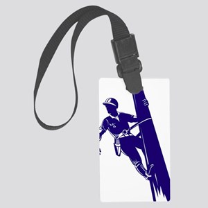 power lineman electrician repair Large Luggage Tag